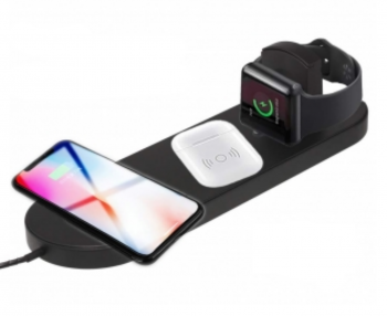 Triple Wireless Fast Charger Pad (including for Apple iWatch) BLACK
