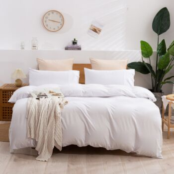 Dreamaker cotton Jersey Quilt Cover Set King Single Bed White