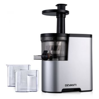 Devanti Cold Press Slow Juicer Processor Mixer Extractor Vegetable Fruit Silver