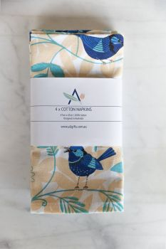 Cotton Napkins - Blue Wren (Set of 4)