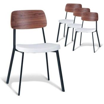 Set of 4 - Enfys Industrial Dining Chair - Black Frame - Walnut Back - White Cushion Seat