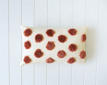 Tufted Cushion - Spots Peach on Natural - 50x30
