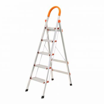 5 STEP LADDER ALUMINIUM MULTI PURPOSE FOR HOUSEHOLD OFFICE FOLDABLE NON SLIP