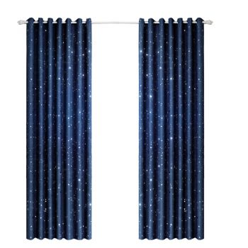 Star Blockout Curtains 3 Layers Eyelet Pure Fabric Room in Navy Blue