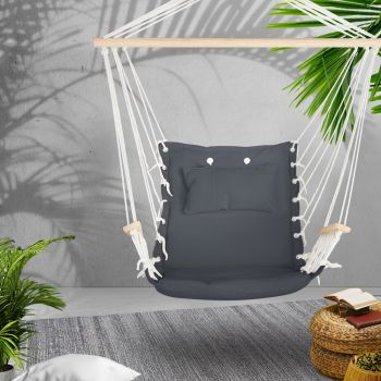 Gardeon Hanging Hammock Chair Outdoor Camping Rope Portable Swing Hammocks Grey