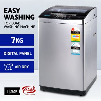 Devanti 7kg Top Load Washing Machine Air dry 24H Preset Soak Wash Digital Panel