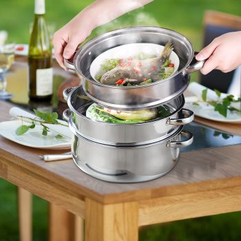 4 Tier Stainless Steel Steamer Meat Vegetable Cooking Steam Hot Pot Kitchen Tool