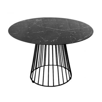 Liverpool Round Dining Table Marble Look - 110cm - Black
