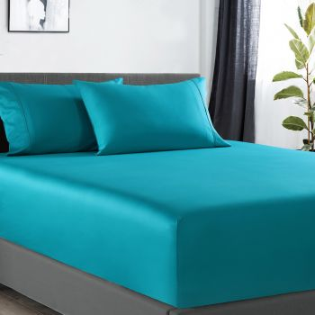 Single Bed 400TC Bamboo Cotton 1  Fitted Sheet with 2 Pillowcases in Teal
