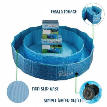 Chill-Out Pool for Dogs - Folds Down - No Inflation Required!