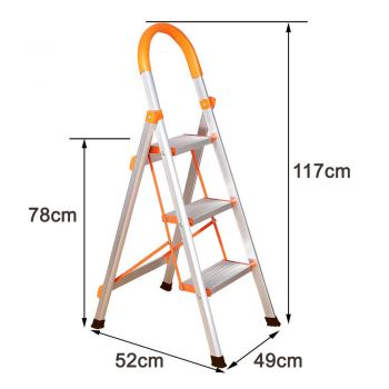 3 STEP LADDER ALUMINIUM MULTI PURPOSE FOR HOUSEHOLD OFFICE FOLDABLE NON SLIP