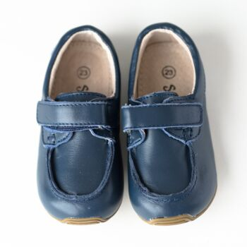 SKEANIE Toddler and Kids Leather Deck Shoes in Navy Blue