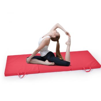 Folding Exercise Floor Mat Dance Yoga Gymnastics Training in Red
