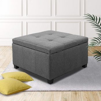 Artiss Storage Ottoman Blanket Box Fabric Foot Stool Rest Chest Couch Bench Toy