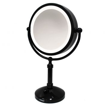 """7"""" Led Backlit Cosmetic Make Up Mirror 1X / 5X Magnification Battery Power Black"""