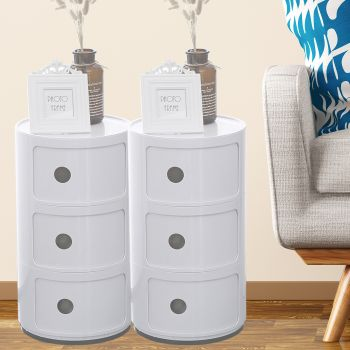 2x Levede Round Cabinet Bed Side Table Storage Organizer Cabinet 3 Drawers White