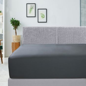 King Bed 400TC Bamboo Cotton Fitted Sheet in Charcoal