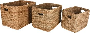 ILUKA S3 SEAGRASS RECTANGLE BASKET WITH HANDLE 42X32X30CM