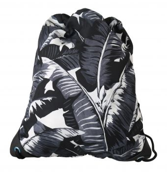 Dolce & Gabbana Black Banana Leaf Print Drawstring Nap Sack Nylon Bag