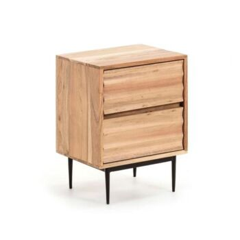 Desi 2-Drawers Bed Side Table - Natural Acacia Wood