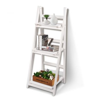 Levede 3 Tier Ladder Shelf Stand for Storage Book Shelve Display Rack in White