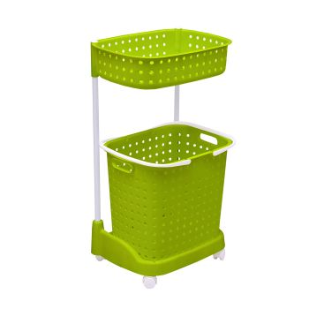 2-Tier Laundary Clothes Basket Hamper with Wheels in Green
