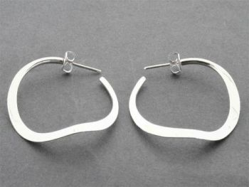 curved hoop stud - small - sterling silver