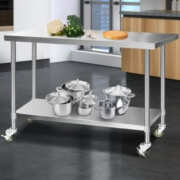 Cefito 1524x760mm Stainless Steel Kitchen Benches Work Bench Food Prep Table 430 Food Grade Stainless Steel w/ Wheels