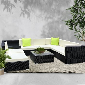 Outdoor Lounge Setting Furniture Sofa Set 9PC Wicker Rattan Garden Patio Pool Lounger Cushions Seat Couch Table Gardeon