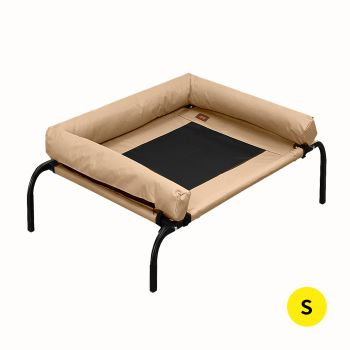 PaWz Pet Bed Heavy Duty Frame Hammock Bolster Trampoline Mesh S Size in Tan