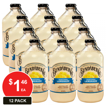 12 Pack, Bundaberg 375ml Traditional Lemonade