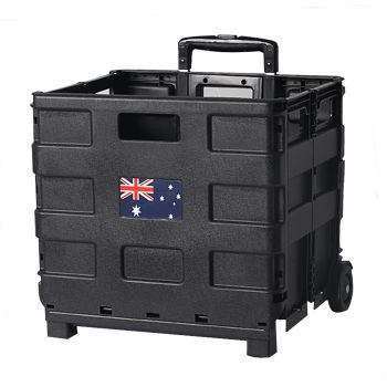 Foldable Portable Pack and Roll Cart Trolley Grocery Basket Crate