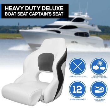 Deluxe Boat Seat Flip-up Bolster Bucket Helm Sport Captains Chair White/Charcoal