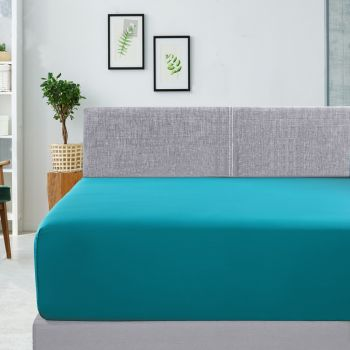 Single Bed 400TC Bamboo Cotton Fitted Sheet in Teal