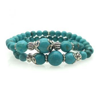 6-10mm Natural Turquoise Double Row Beaded Stretch Bracelet