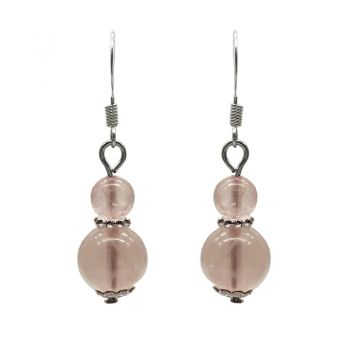 6-10mm Natural Round Rose Quartz Silver Plated Drop Earrings