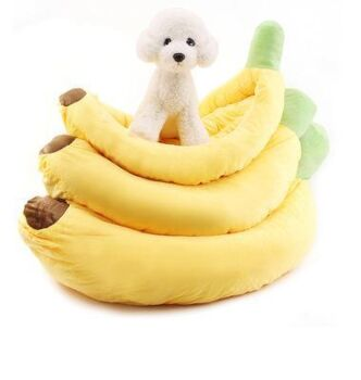 Pet Cat and Dog Bed Banana With Cushion Comfortable Ultra Soft (L Yellow)