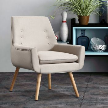 Levede Upholstered Fabric Dining Chair Kitchen Wooden Modern Cafe Chairs
