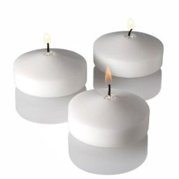 48 Pack - 5.8cm White Wax Floating Wedding or Event Candles for Bowls Ponds Jars Pools