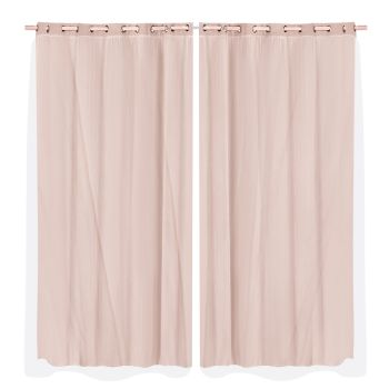 2x Blockout Curtains Panels 3 Layers Room Darkening 240x230cm in Rose