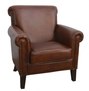 Distressed Rich Brown Leather Armchair