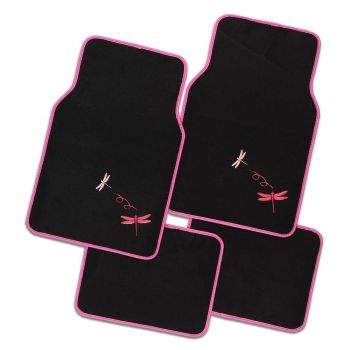 Dragonfly 4-Piece Car Mat - Pink