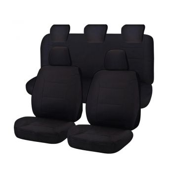 Canvas Car Seat Covers for Ford Ranger PXII-PXIII Series Dual Cab 2015 | Black