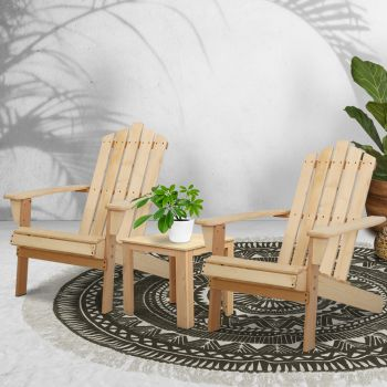 Gardeon Outdoor Sun Lounge Beach Chairs Table Setting Wooden Adirondack Patio Natural Wood Chair