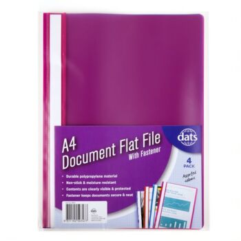 Document File A4 with FAssortedener Mixed Coloursours 4 Pack