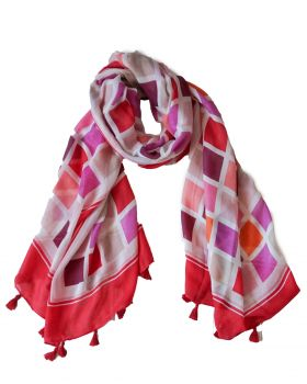 Scarf - Checkerboard Pink - 180x90cm