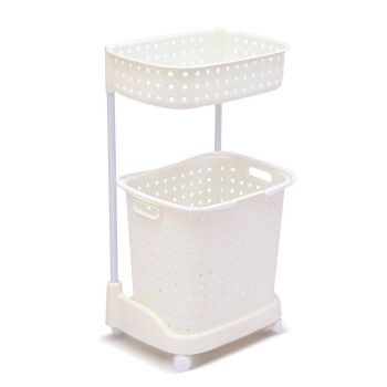2-Tier Laundary Clothes Basket Hamper with Wheels in White
