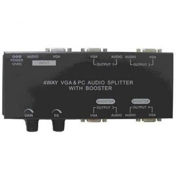 4 Way Video + PC Audio Connection Splitter