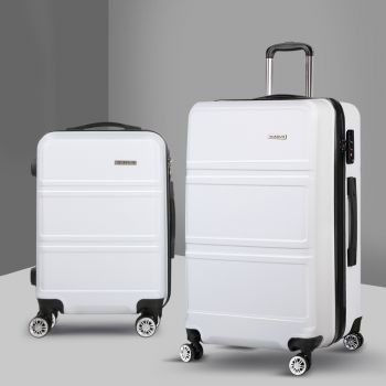 Wanderlite 2pc Luggage Sets Suitcase White Trolley Set TSA Hard Case Lightweight
