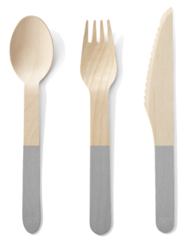 Back to Nature Birch Cutlery (Grey Handle) - 24pc